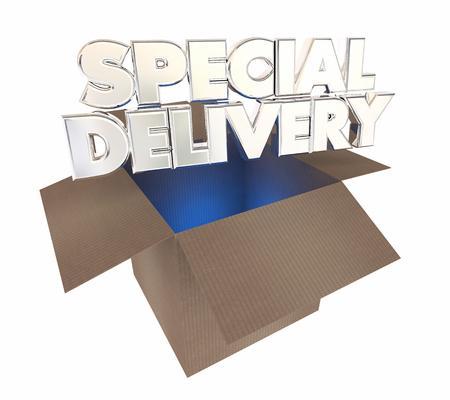 Illustrazione di apertura 3d della scatola di cartone di consegna speciale Archivio Fotografico - 66530800