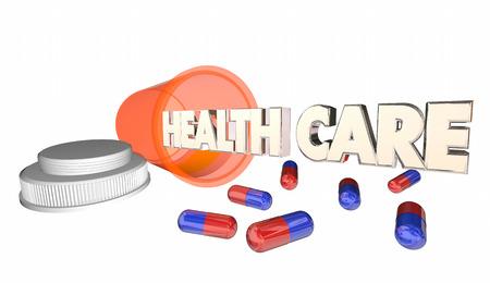 prescription bottle: Health Care Medicine Prescription Pill Capsule Bottle 3d Illustration