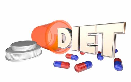Diet Supplement Pills Bottle Lose Weight Help 3d Illustration