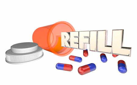 prescribing: Refill Prescription Medicine Pill Bottle Running Out 3d Illustration