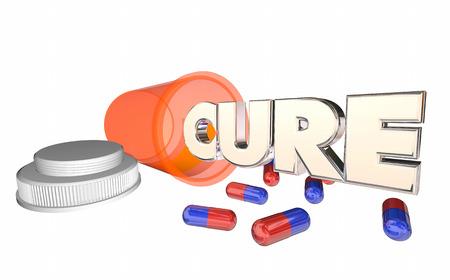 Cure Medicine Pill Bottle Disease Illness Prescription 3d Illustration