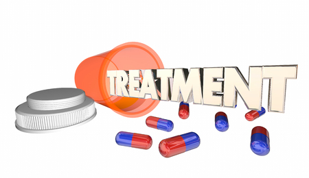 pill prescription: Treament Medicine Prescription Medical Cure Pill Bottle 3d Illustration