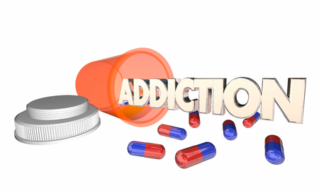 Addiction Drug Abuse Prescription Pill Bottle Word 3d Illustration