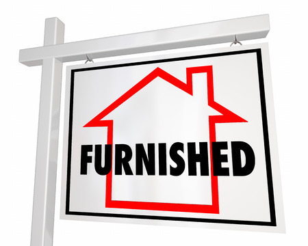 furnish: Furnished Home for Sale House Real Estate Sign 3d Illustration