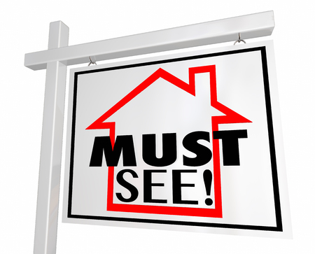 urge: Must See House Home For Sale Real Estate Sign 3d Illustration Stock Photo