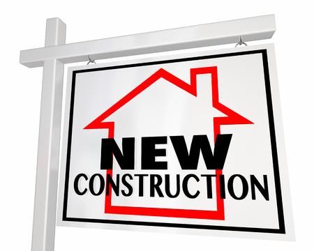 새로운 건설 집 판매 부동산 서명 3D 그림
