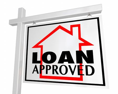 borrowing money: Loan Approved Mortgage Home for Sale Sign 3d Illustration Stock Photo