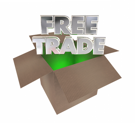 Free Trade International Commerce Boxes Shipments 3d Illustration