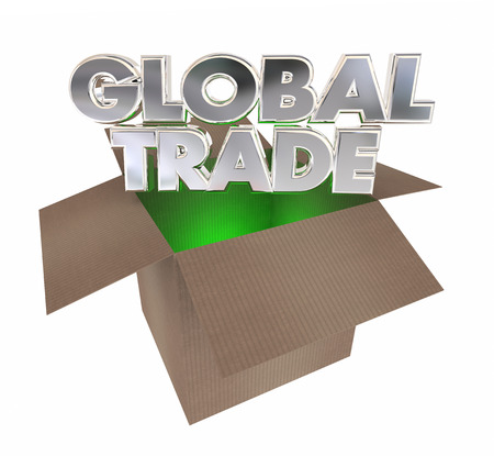 shipped: Global Trade Cardboard Box Goods International Exports 3d Illustration
