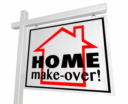 Startseite Make-Over Haus Real Estate-Zeichen 3D-Illustration Remodeling Standard-Bild - 66551681