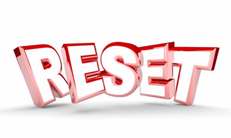 Reset Word Restart New Beginning Do Over 3d Illustration Stock Photo