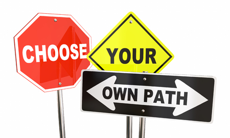 あなた自身のパスを決めるどっち標識 3 d 図を選択します。 写真素材