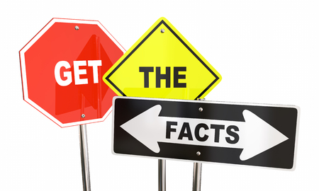 Get the Facts Road Street Signs Direction Research Information 3d Illustration Imagens