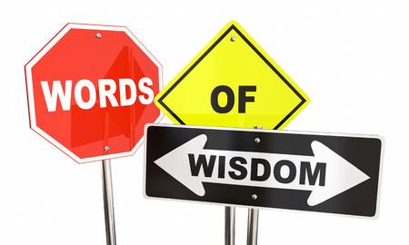 inform information: Words of Wisdom Signs Warning Caution Safety 3d Illustration
