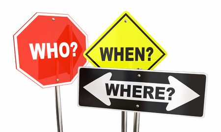 when: Who When Where Questions Road Signs Words 3d Illustration