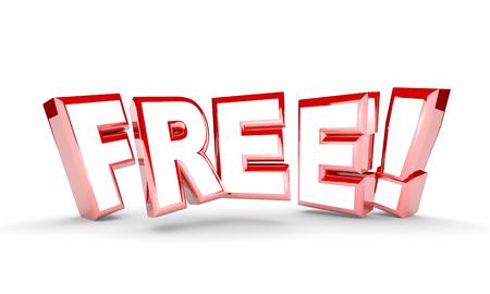 freebie: Free No Cost Complimentary Bonus Word 3d Illustration
