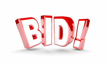 auction win: Bid Auction Buy Item Product High Price Win Word 3d Illustration Stock Photo