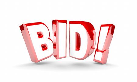 bid: Bid Auction Buy Item Product High Price Win Word 3d Illustration Foto de archivo
