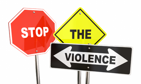 stopped: Stop the Violence End Fighting War Signs Words 3d Illustration