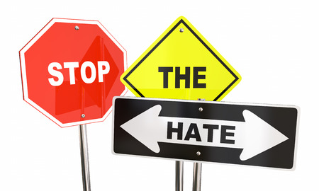 hostility: Stop the Hate Road Signs Get Along Together 3d Illustration