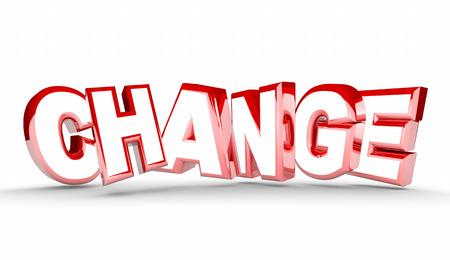 Change Different New Adaptation Word 3d Illustration