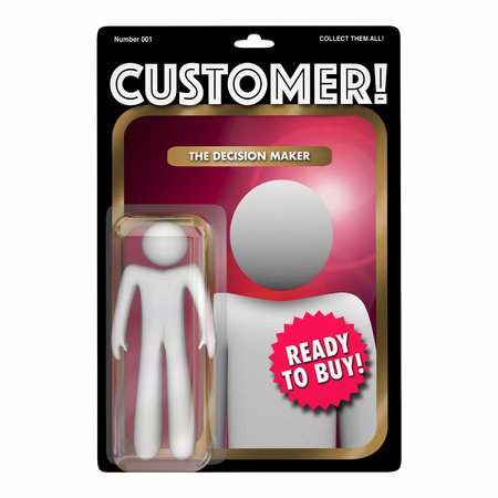 patron: Customer Action Figure Toy Find New Client Buyer 3d Illustration