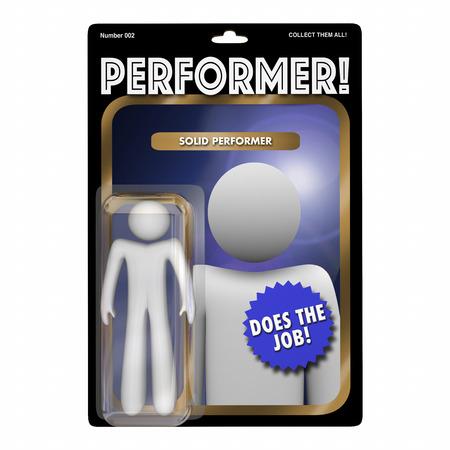 the performer: Performer Skilled Hard Worker Action Figure 3d Illustration