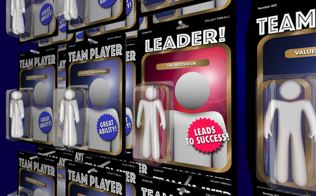 manager team: Team Leader Motivator Manager Action Figure 3d Illustration Stock Photo