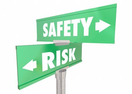 Safety Vs Risk Security Protection Reduce Danger Signs 3d Illustration