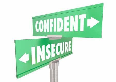 vs: Confident Vs Insecure Sure Confidence Signs 3d Illustration
