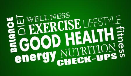buena salud: Buena Nutrición Salud Dieta Fitness ejercicio 3d ilustración Foto de archivo