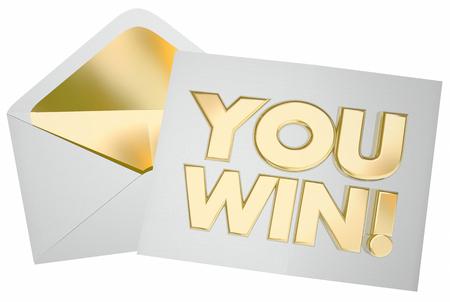 手紙封筒メッセージ コンテストの成功を獲得する 3 d イラストレーション