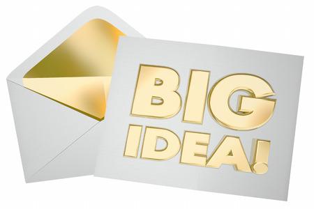 大きなアイデア封筒の共有メッセージ通信を開始 3 d イラストレーション 写真素材