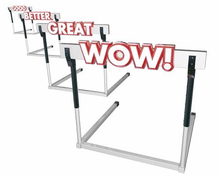 hurdles: Good Better Great Wow Hurdles Performance 3d Illustration Stock Photo