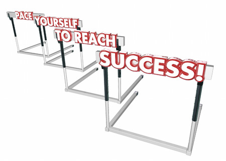 pacing: Pace Yourself to Succeed Hurdles Success Win 3d Illustration