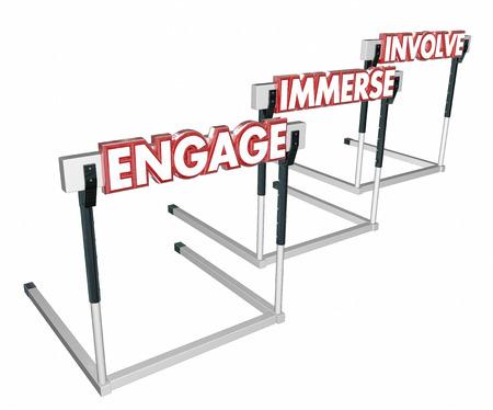 hurdles: Engage Involve Immerse Interact Hurdles 3d Illustration Stock Photo