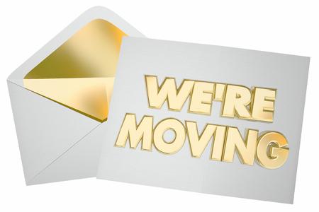 우리는 새로운 주소 3d 일러스트 레이 션에 편지 봉투 봉투를 이동했다