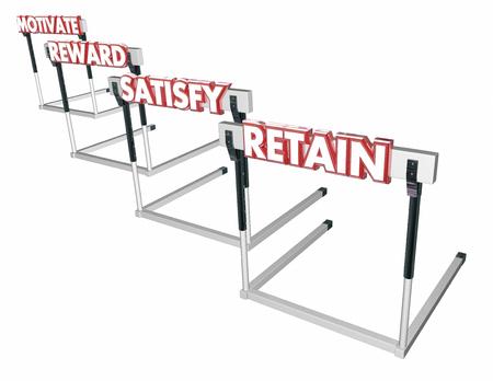 employee satisfaction: Motivate Reward Satisfy Retain Customers Employees Hurdles 3d Illustration
