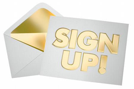 登録招待状の封筒のサインアップに参加 3 d イラストレーション
