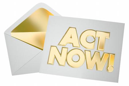 行動を取るアクション特別オファー メッセージ エンベロープ 3 d イラストレーションの手紙