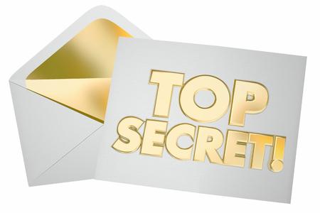 秘密の手紙エンベロープ メッセージの機密をトップ 3 d イラストレーションを注意してください