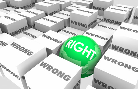 Right Vs Wrong Choice Correct Accuracy Cubes Sphere 3d Illustration Stock Photo