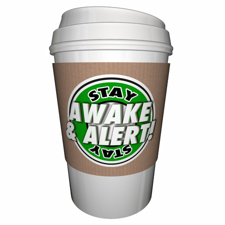 pay attention: Stay Awake Alert Pay Attention Coffee Cup 3d Illustration