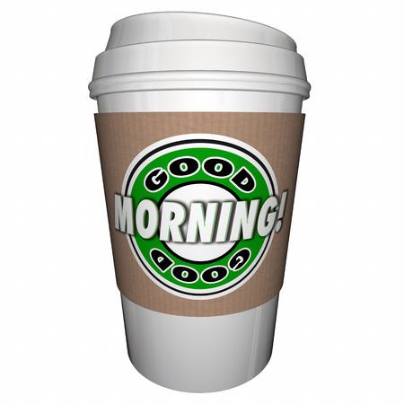 Good Morning Coffee Cup Begin Dag Vroege Drink 3D Illustratie