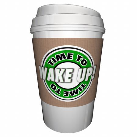 Tijd om te wakkeren Slaap Koffie Cup 3D Illustratie