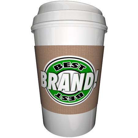 coffee company: Best Brand Coffee Cup Top Leading Company 3d Illustration Stock Photo