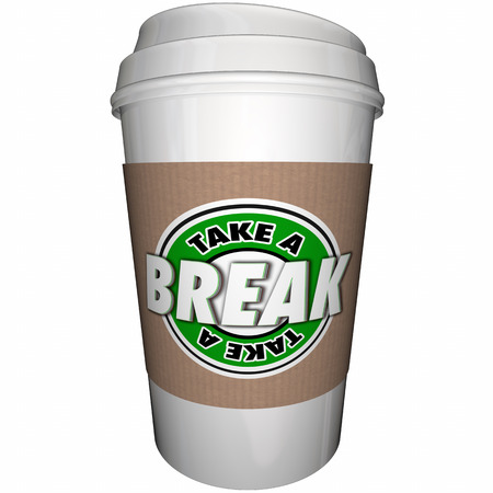 unwind: Take a Break Coffee Cup Relax Rest 3d Illustration