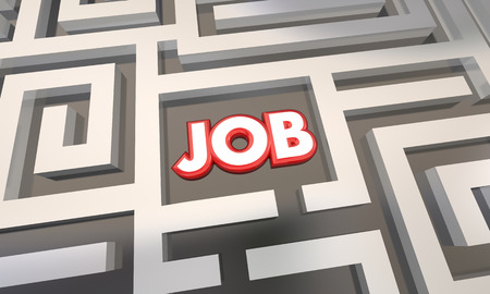 finding your way: Get Job Find Open Work Position Interview Maze 3d Illustration