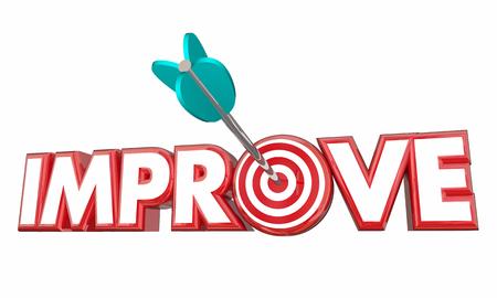 Improve Arrow Bullseye Better Results Word 3d Illustration