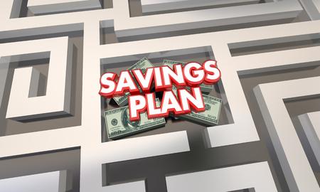 finding your way: Savings Plan Maze Budget Grow Money Wealth 3d Illustration